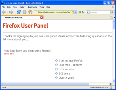 Firefox user panel, first survey