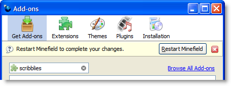 Firefox 3 Add-ons Manager restart button