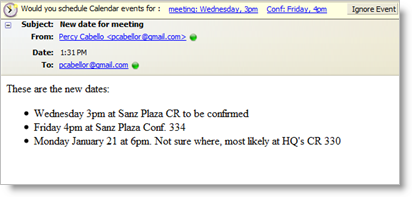Spicebird detecting an event in an email