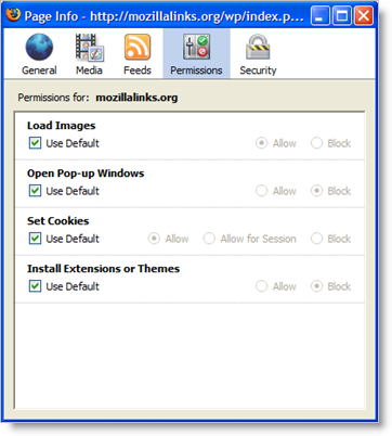 Page Information dialog