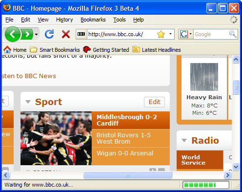 Firefox 3 Beta 4 main window