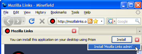 Web app detected by Prism
