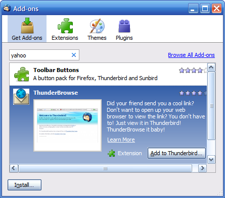 Thunderbird 3 Add-ons manager