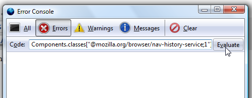 Vacuuming Firefox databases from the Error Console